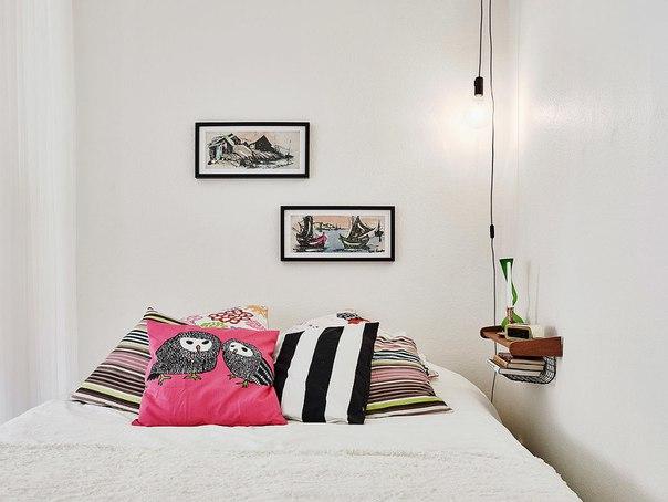 Детали, спальня вместе с гостиной, скандинавский стиль