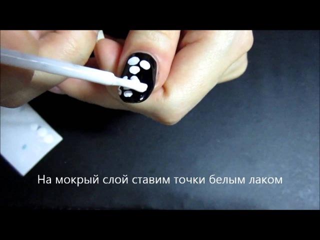 Простой рисунок на ногтях иглой Роза 1