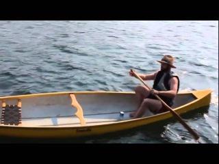 Naked Guy Spear Tackles Drunk Man In Canoe