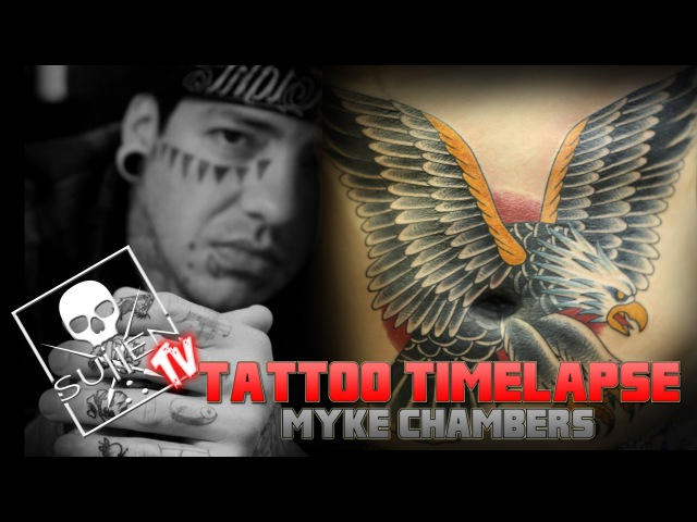 Tattoo Time Lapse - Myke Chambers - Tattoos HUGE Eagle on Stomach