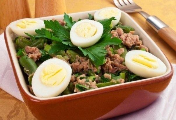 Салат с тунцом и стручковой фасолью 100 гр такого салатика содержат: 100 ккал