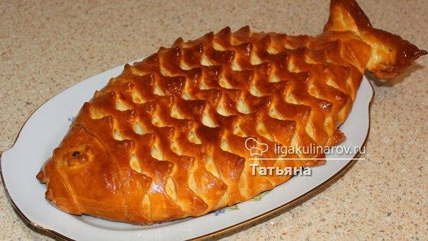 Пирог рыбка из дрожжевого теста с консервой пошаговый рецепт 106
