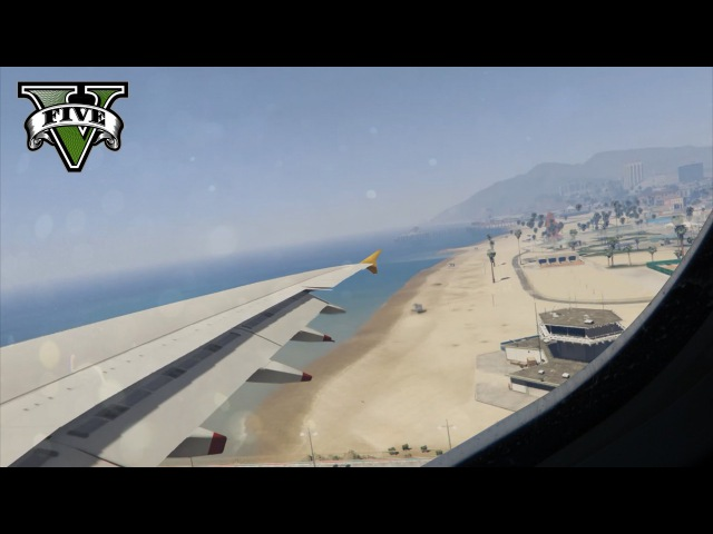 GTA 5 - A380-800 Realistic Wing View Landing HD