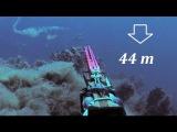 EXTREME 44m DEEP Spearfishing - The ambush to Big 7 kg Dentex Pesca Apnea Profonda Chasse