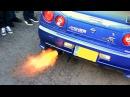 Nissan Skyline R34 GTR - Anti-lag FLAMES!