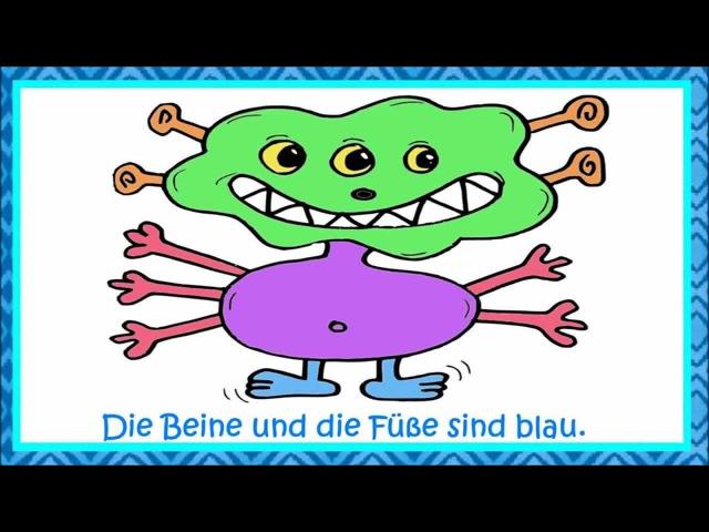 Deutsch lernen: Wir malen ein Monster - Körperteile, Zahlen und Farben lernen