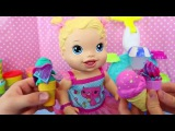 Unboxing BABY ALIVE Yummy Treat Baby Doll Licks & Eats  + Play Doh Ice Cream Cones for Baby Alive