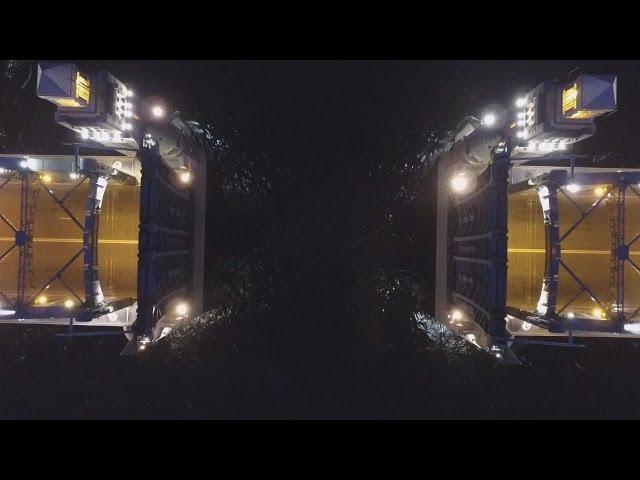 Развод моста Петра Великого с беспилотника. Opening the drawbridge Peter the Great.