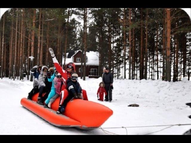 Надувные зимние санки Банан для катания за снегоходом