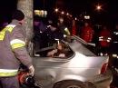 BMW Обмотало Вокруг Столба Авария