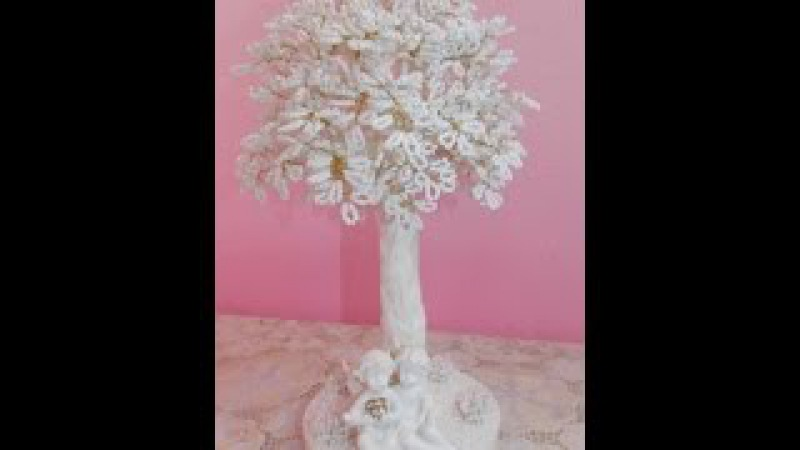 Дерево из бисера. Мастер класс. Дерево ангелов. Wood bead. The tree of angels.