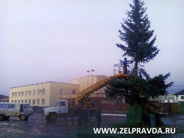 В станице Зеленчукской убрали главную елку Зеленчукского района