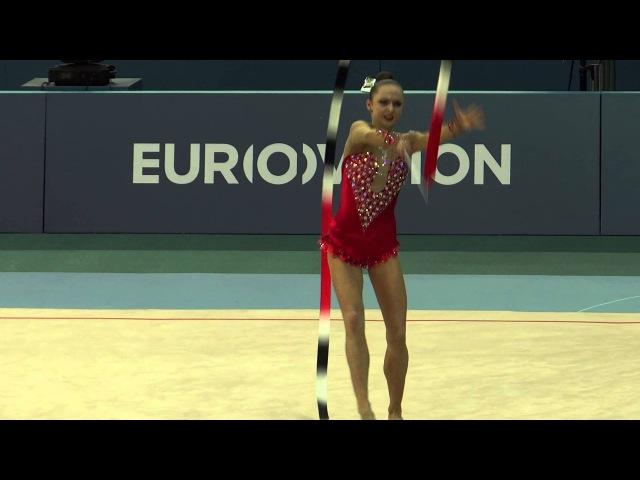 Гимнастка Марина Дурунда. Выступление с лентой