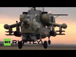 Россия: Боевые вертолеты щеголял свою огневую мощь в Краснодарском сверл.