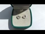 Срібні сережки серце з цирконами 1 см