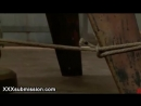 Busty tied up Asian babe caned and vibed and throat gagged