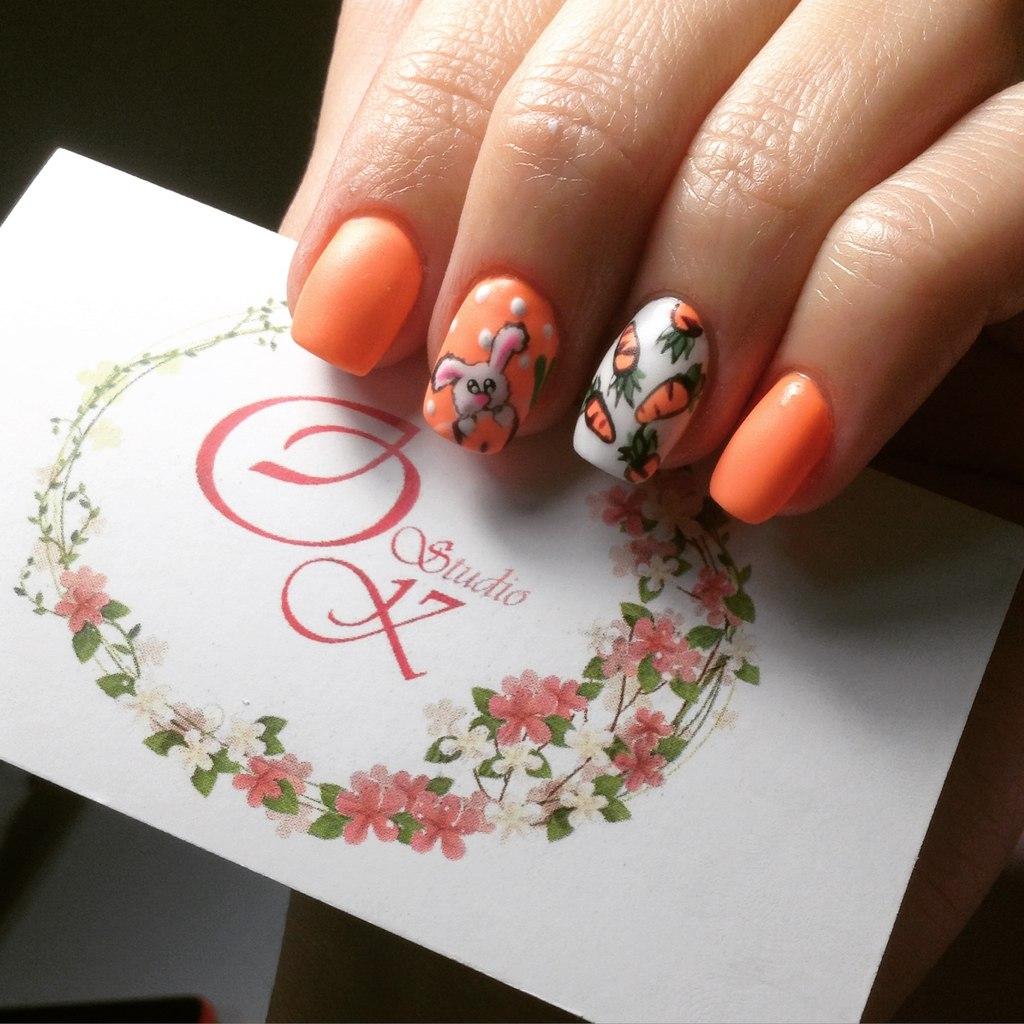 Дизайн ногтей зайка фото