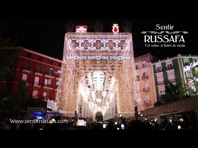 Encendido Iluminación Falla Sueca Literato Azorín 2016. Fallas Valencia 2016. De Cagna Luminarie