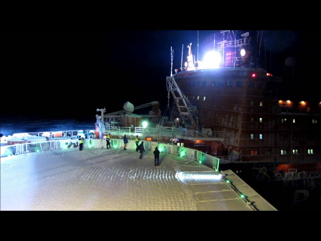 Russian nuclear icebreaker Rossiya picking up the ice pilot from MSV Nordica