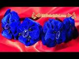 Цветы из бархата. Цветы канзаши. Ободок с красивыми цветами из бархатной ткани