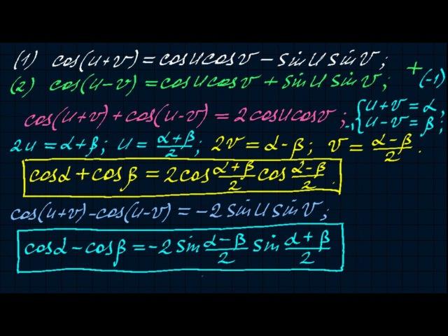 Сумма и разность косинусов. Тригонометрия-14