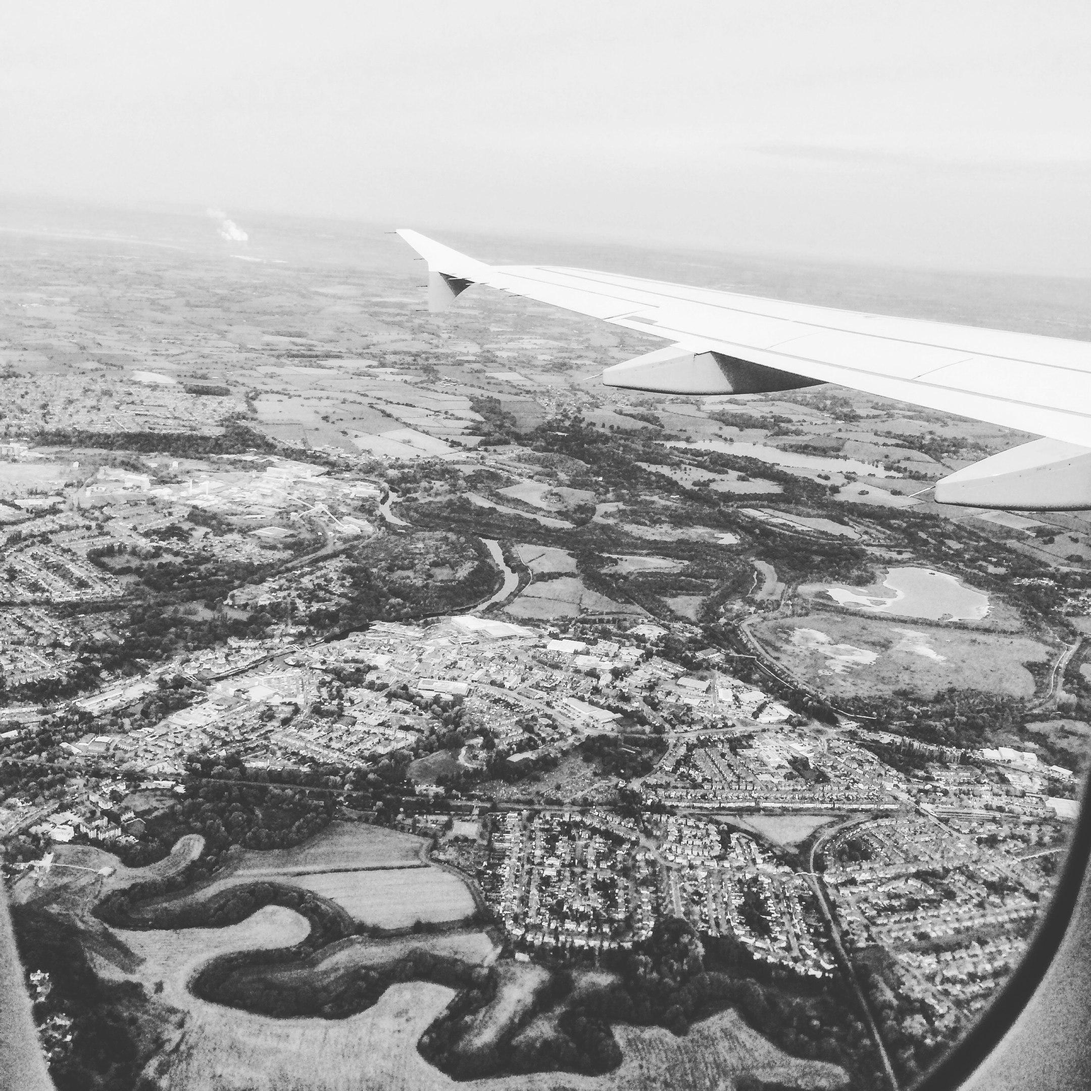 На подлете к Манчестеру.