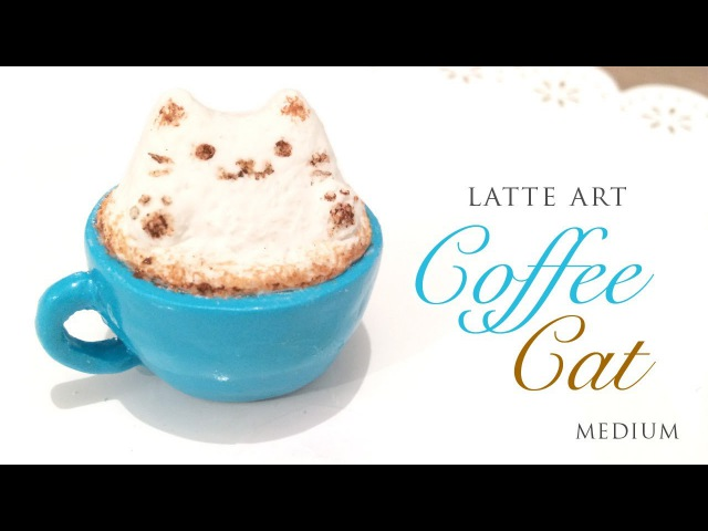 How to Make Realistic Latte Art Cat! - Relaxing Clay Tutorial