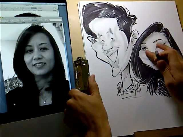 Couple Caricature Drawing From Photo 7