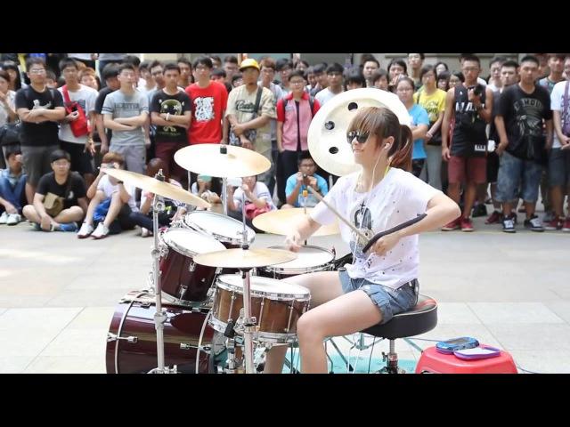 FANTASTIC BABY . S WHITE Drummer . Барабанщица-виртуоз из Тайваня 爵士鼓 羅小白 - นางฟ้าตีกลอง