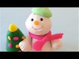 Как лепить Снеговика. Из пластилина Play-Doh лепим забавного снеговика для Нового года.
