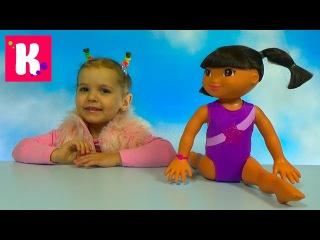 Даша Путешественница - гимнастка распаковка куклы Dora the Explorer Gimnastic doll unboxing