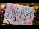 Speed Painting | Winter Forest | Crumpled Paper | Gouache | IOTN