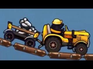Крот едет на жёлтом тракторе с тележкой и везёт алмазы себе домой. Мультик для самых маленьких детей