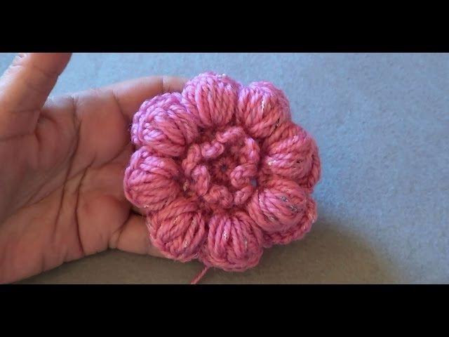 Вязание крючком цветок из пышного столбика 793