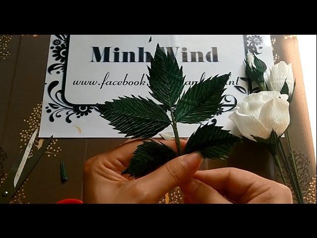 Rose paper flower Làm hoa hồng giấy nhún Minh Wind