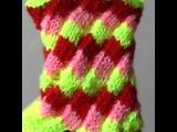 Эстонская спираль. Спираль спицами. Узор ромбы спицами. Вязание по кругу. (Estonian helix knitting)