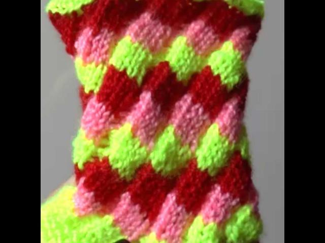 Эстонская спираль Спираль спицами Узор ромбы спицами Вязание по кругу Estonian helix knitting