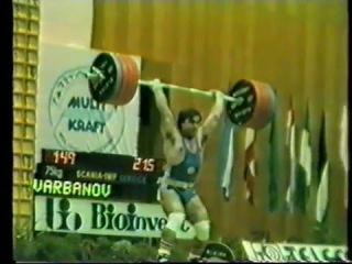 Weltrekord Varbanov Alexander 215 kg Stossen Kat. 75kg bei den Weltmeisterschaften 1986 in Sofia