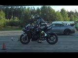 [4k] Drag Race Kawasaki H2 Ninja vs Nissan Nismo GTR vs Mercedes AMG GT S  Coupe