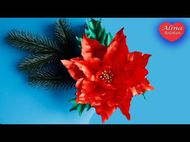 Пуансеттия из ленты Рождественский Цветок . МК / Poinsettia . The Christmas Flower . DIY