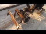 Минитрактор из мотоблока Нева. Чистка снега