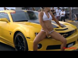 Chevrolet Camaro. Sexy car wash. Beautiful girls in bikini