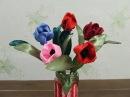 Букет тюльпанов из атласных лент в стиле канзаши своими руками.