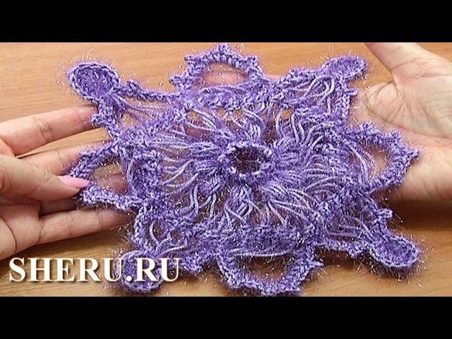 Crochet Hairpin Snowflake Lace Урок 7 часть 1 из 2 Вязаная на вилке снежинка
