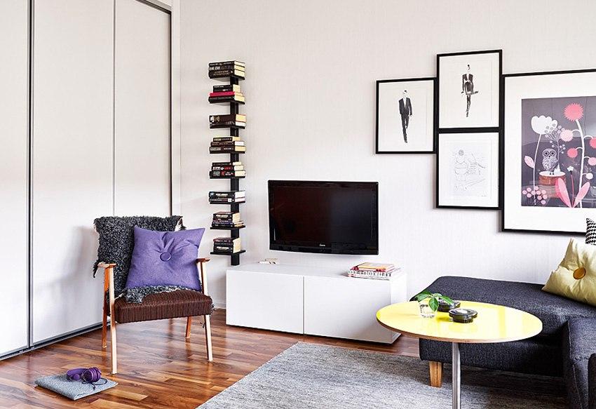 Небольшая квартира-студия 25 м с кроватью в шкафу.