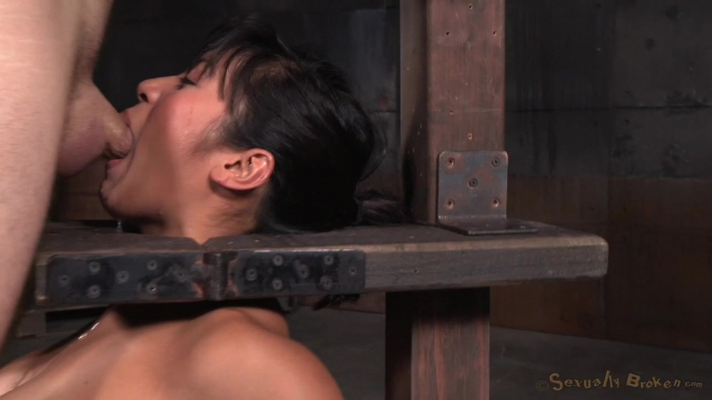 Mia Li - Busty Asian Mia Li shackled to sybian and throatboarded without mercy by two hard cocks! (2015) HD BDSM, Bondage, Domin