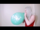BlondeSmile - Blonde girl is blowing up a balloon until it pops