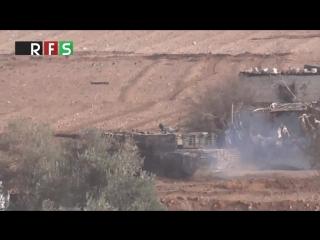 Сирия.Ми-25 ВВС САР наносит бомбовые удары по позициям боевиков в Моадамии,Дамаск..
