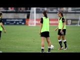 Alex Morgan- Soccer trick during warm-up