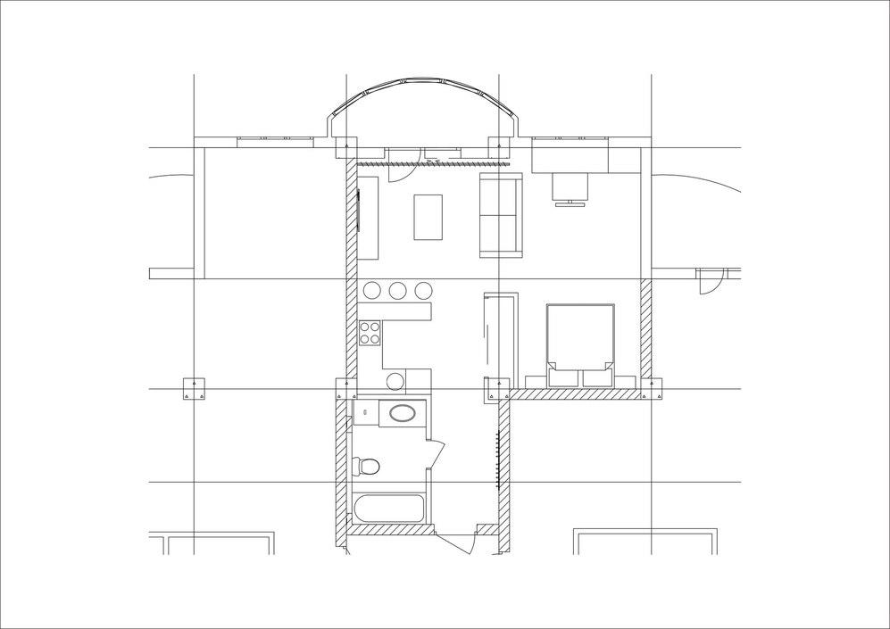 Проект квартиры 40 м + лоджия 6 м.
